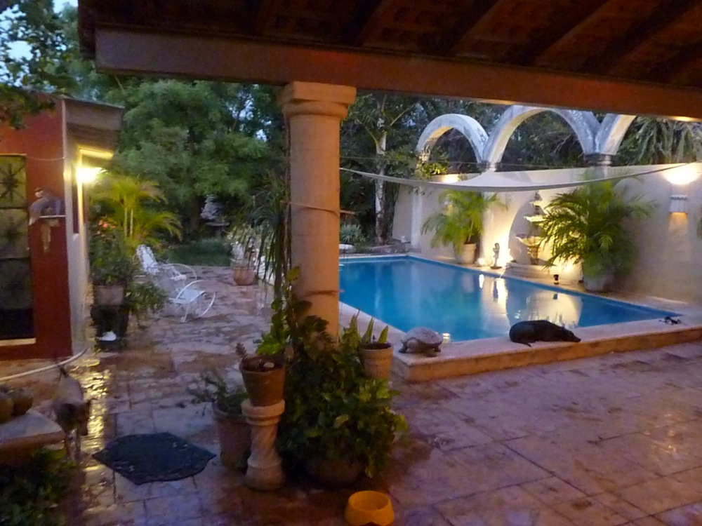 71 . patio and pool at dusk